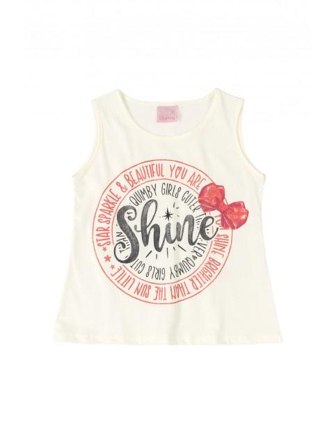 Bluzka dziewczęca na ramiączka z napisem SHINE