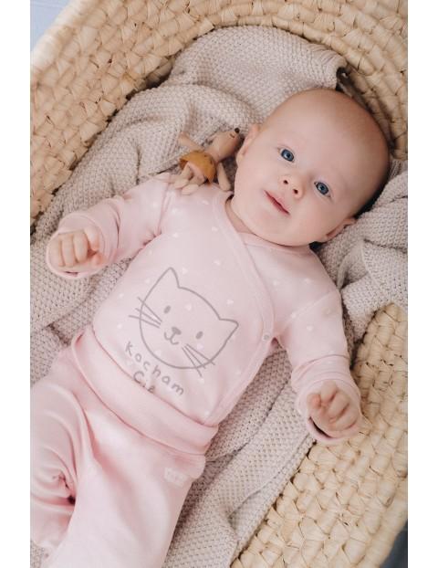 Body niemowlęce kopertowe z napisem Kocham Cię