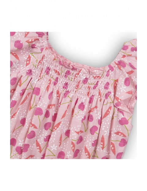 Bawełniany kombinezon dziewczęcy w wisienki - różowy