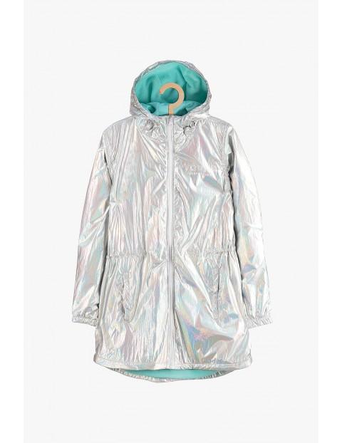 Kurtka dziewczęca przejściowa - srebrna holograficzna
