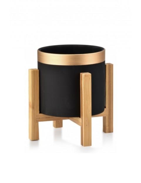 AVA Doniczka czarna na drewnianym stojaku