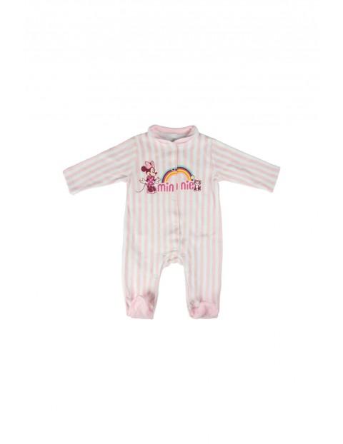 Pajac niemowlęcy Minnie - różowy w paski