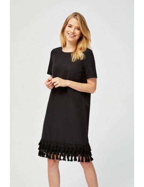 Czarna sukienka damska z frędzlami