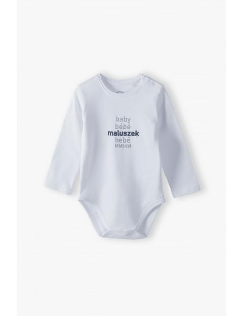 Białe body niemowlęce z napisem Maluszek - ubrania dla całej rodziny