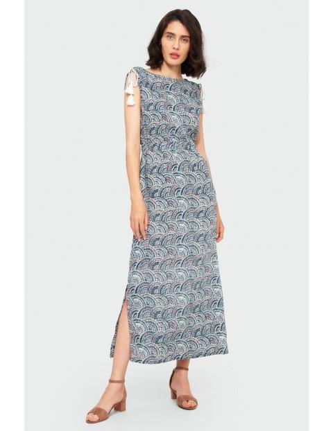 Wzorzysta sukienka damska - grube ramiączka