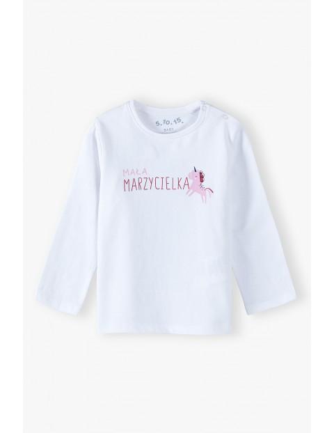 Biała bluzka z napisem Mała marzycielka