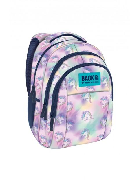 Plecak dziewczęcy w jednorożce- 3komory