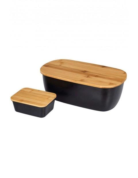 Chlebak z deską bambusową i maselniczka