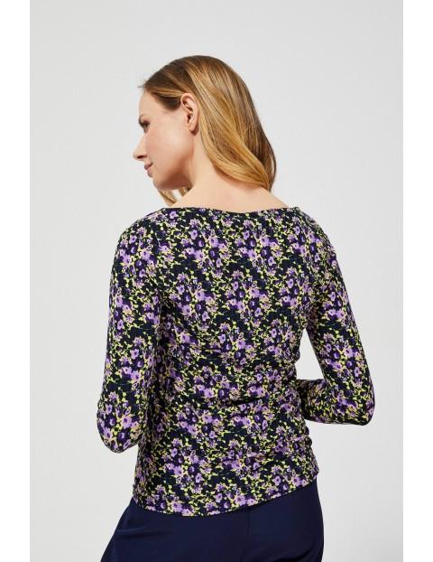 Bluzka damska w kwiaty - długi rękaw