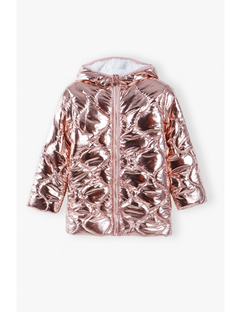 Różowa kurtka dziewczęca pikowana z kapturem