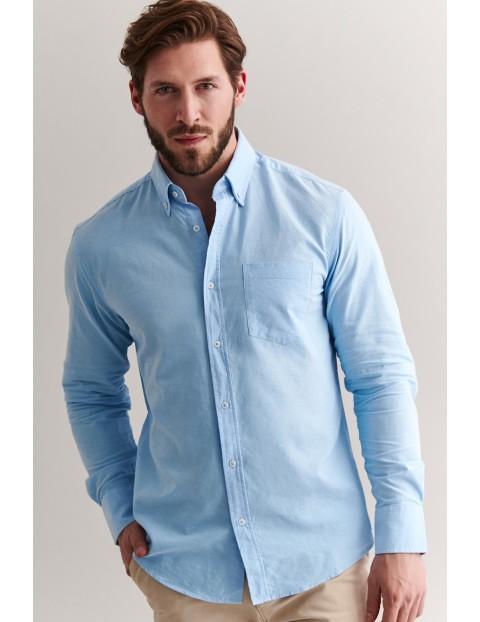 Bawełniana koszula męska z długim rękawem - niebieska