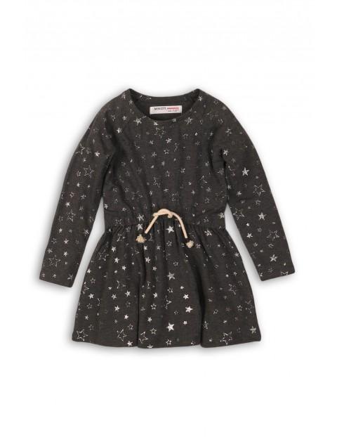 Sukienka dziewczęca szara w srebrne połyskujące gwiazdki