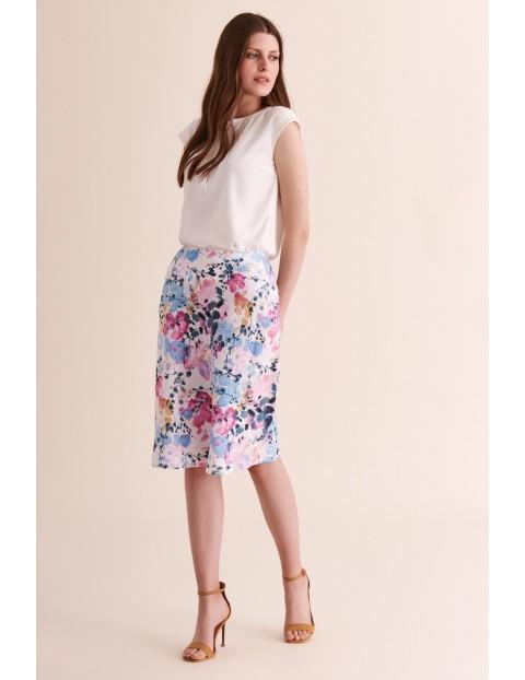 Kolorowa lniana spódnica damska
