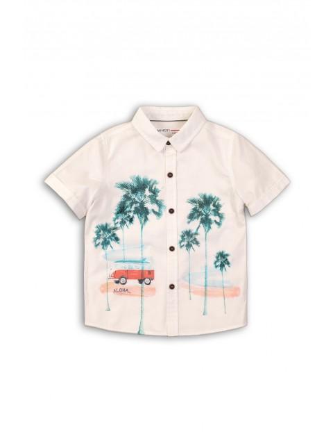 Koszula z krótkim rękawem dla chłopca ecru