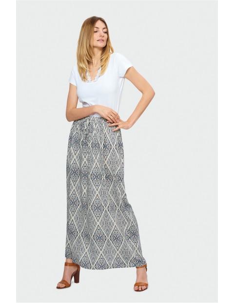 Wzorzysta, długa spódnica na gumce
