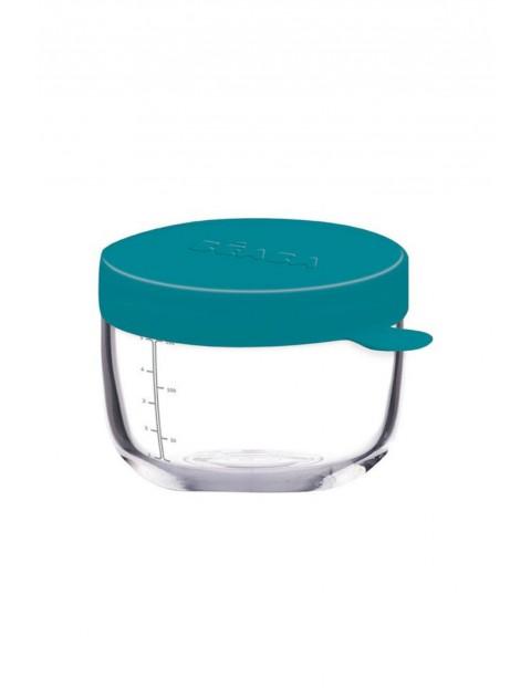 Pojemnik słoiczek szklany z hermetycznym zamknięciem 150 ml Beaba niebieski