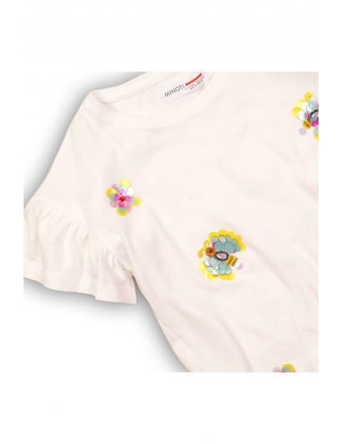 Koszulka dziewczęca z ozdobnym rękawem i cekinami