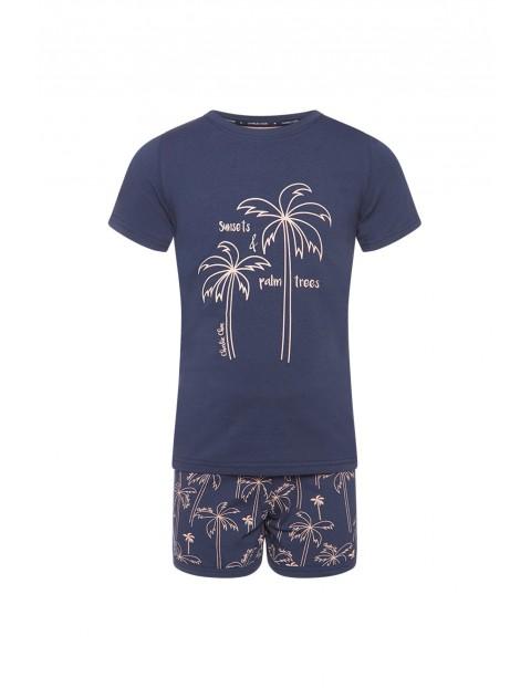 Pidżama dziewczęca granatowa w palmy