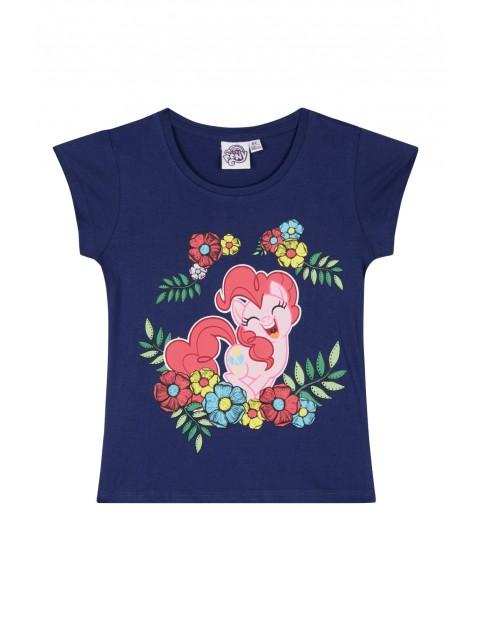 Koszulka dziewczęca z rótkim rękawem Pony- granatowa