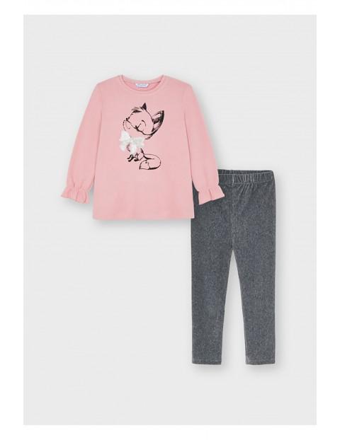 Komplet dziewczęcy- szare leginsy i różowa bluzka z długim rękawem