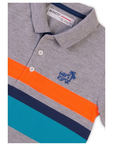 Bawełniana bluzka chłopięca szara z kołnierzykiem