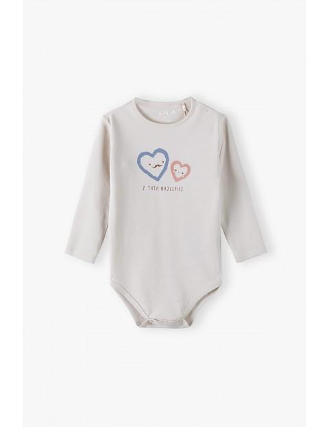 Bawełniane body niemowlęce z długim rękawem  z napisem Z Tatą Najlepiej