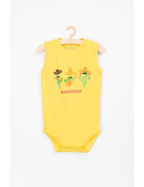 Bawełniane body na ramiączka- żółte z kaktusami