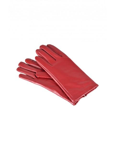 Rękawiczki damskie skórzane antybakteryjne - czerwone