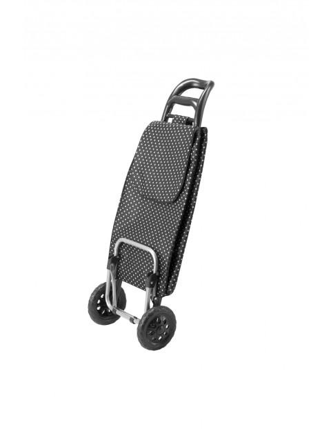 Wózek/torba za zakupy na kółkach- czarna w białe kropki