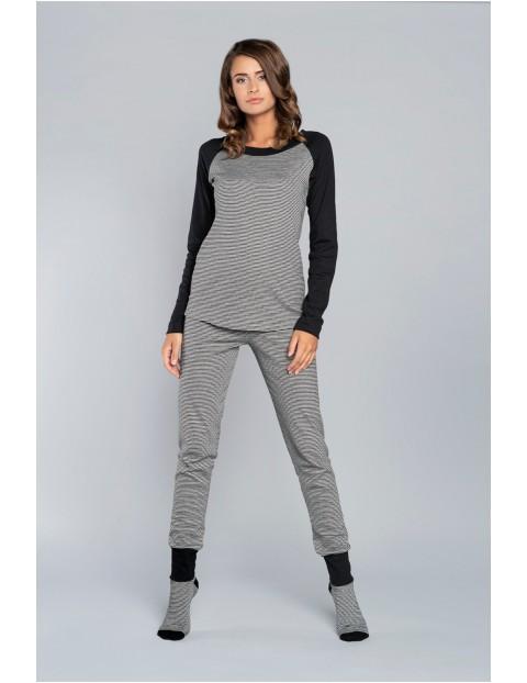 Piżama Sana długi rękaw, długie spodnie - czarna