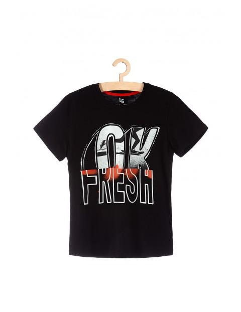 T-shirt dla chłopca czarny z nadrukiem