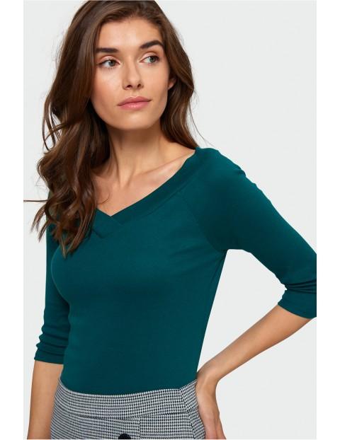 Bluzka dzianinowa- zielona w serek