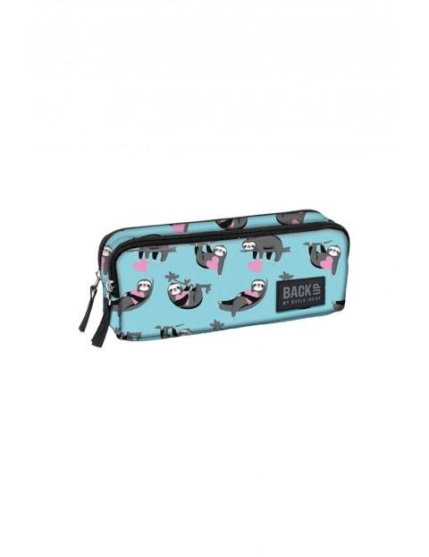Piórnik szkolny dla dziewczynki w leniwce, niebieski