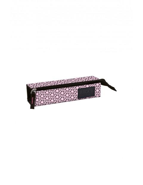 Piórnik dziewczęcy różowy w czarne wzory