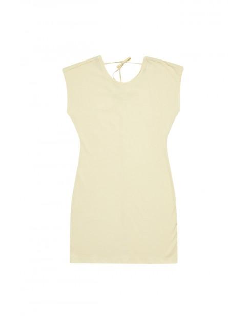 Sukienka z wiązanie z tyłu - żółta