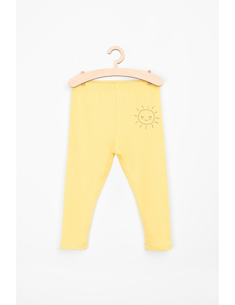 Leginsy dziewczęce żółte ze słoneczkiem