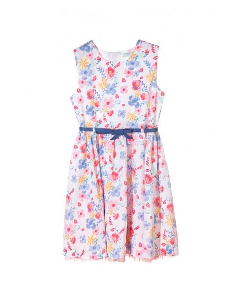 Sukienka dziewczęca w kwiaty z tiulową podszewką