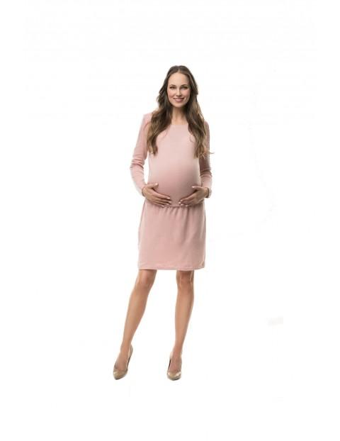 Sukienka ciążowa i do karmienia Crochet pudrowy róż