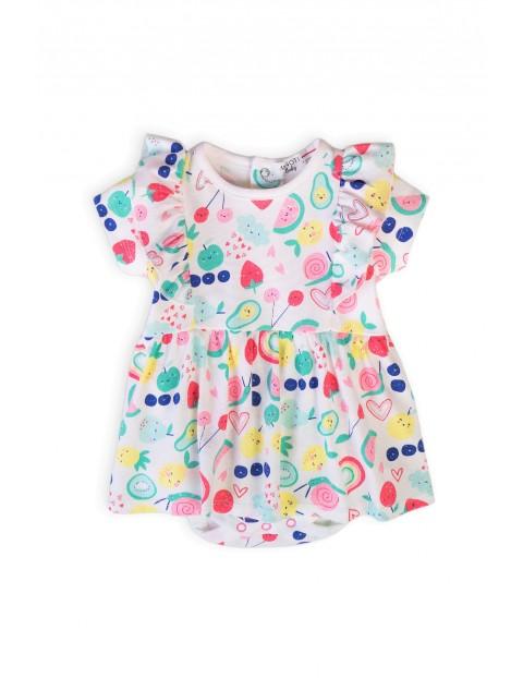 Bawełniana sukienka niemowlęca we wzorki