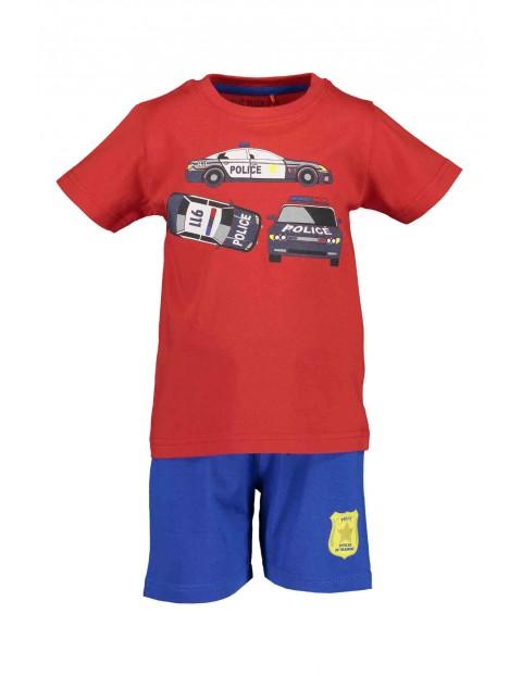 Komplet chłopięcy Police - czerwony t-shirt i niebieskie spodenki