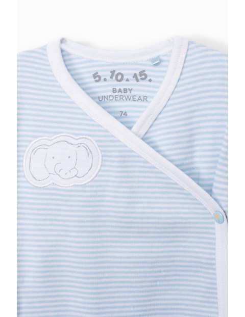 Body niemowlęce kopertowe z długim rękawem - niebieskie