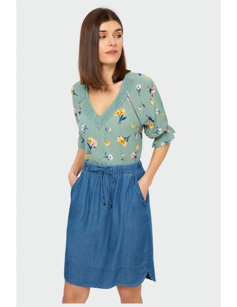 Niebieska luźna spódnica z troczkiem i przeszyciami na kieszeniach Lyocell