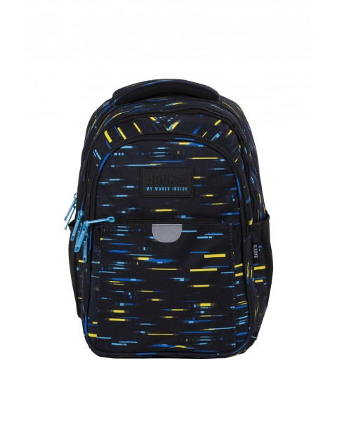 Plecak BackUp chłopięcy z kolorowymi wzorami 3komoryowy