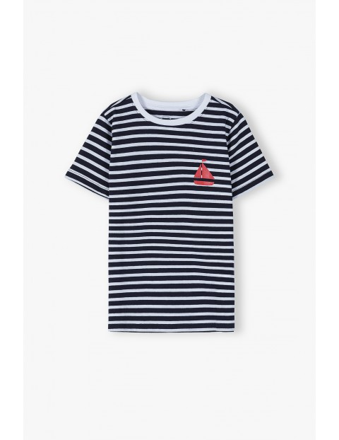T-shirt chłopięcy w marynistyczne paski