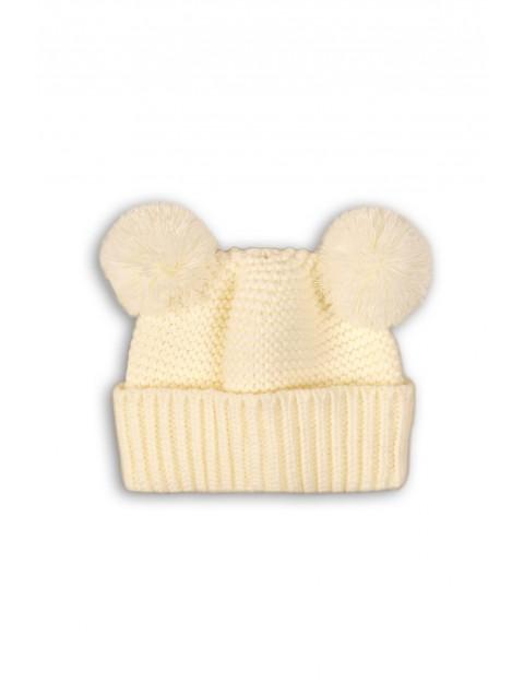 Czapka niemowlęca kremowa z pomponami rozm 50/68