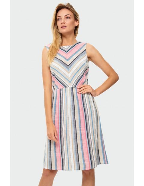 Sukienka damska w kolorowe paski