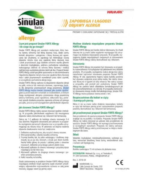 Sinulan allergy spray -  pyłki, roztocza, zwierzęta domowe 15 ml