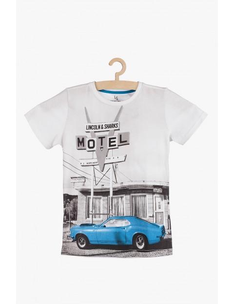 Bawełniany t-shirt chłopięcy z młodzieżowym nadrukiem