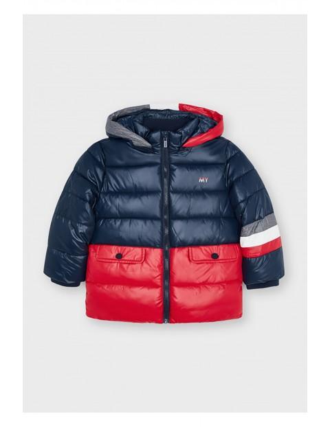 Kurtka chłopięca zimowa  Mayoral z kapturem - granatowo- czerwona