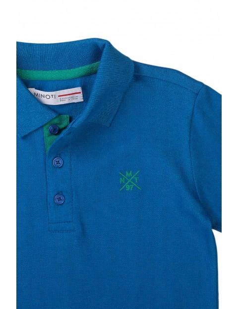 T-shirt chłopięcy bawełniany z kołnierzykiem- niebieski